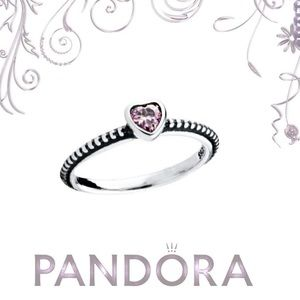Pandora Pink Heart Beaded Sterling Silver Ring